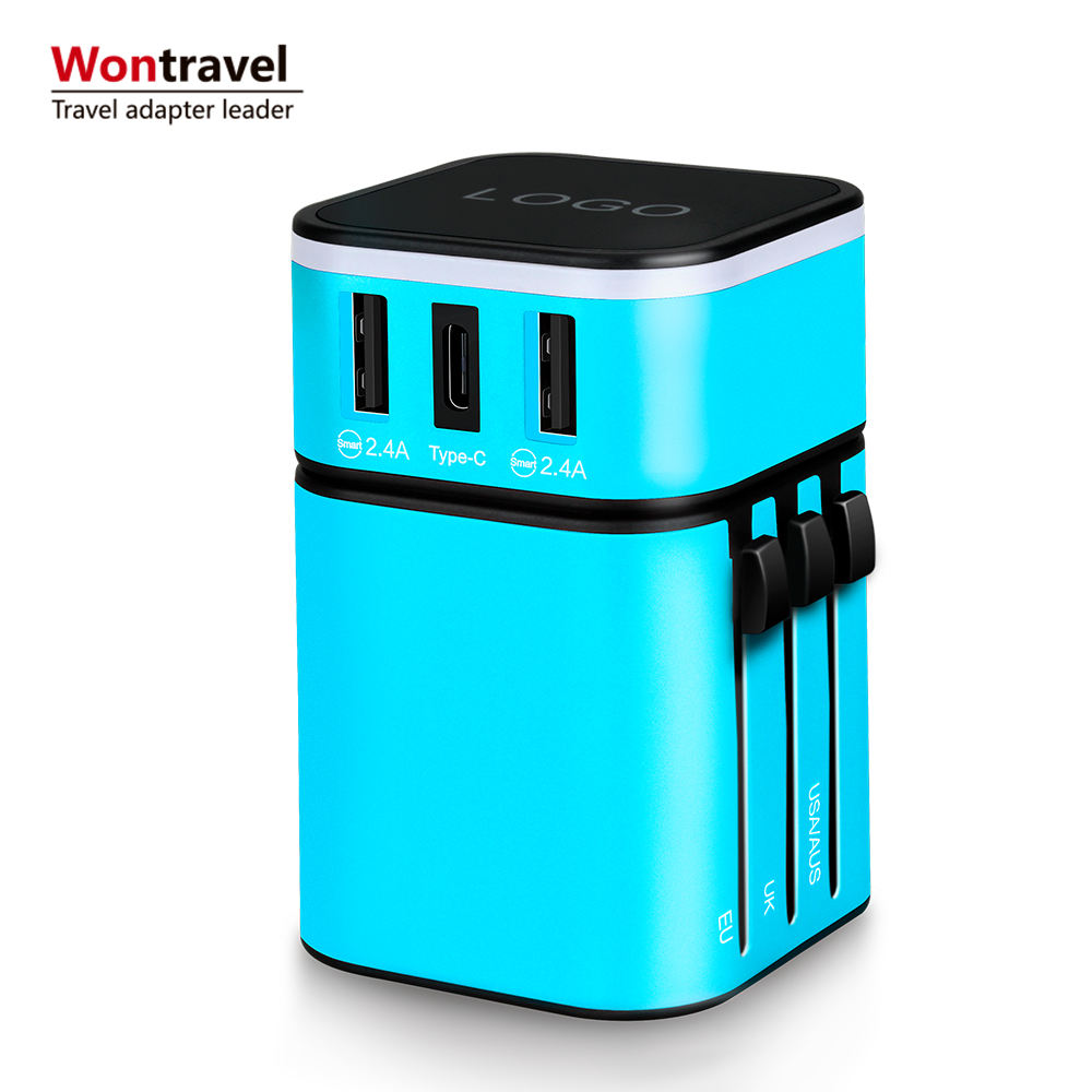 International travel adapter EU AUS UK US ปลั๊ก 4 usb charger smart wall socket fast charger