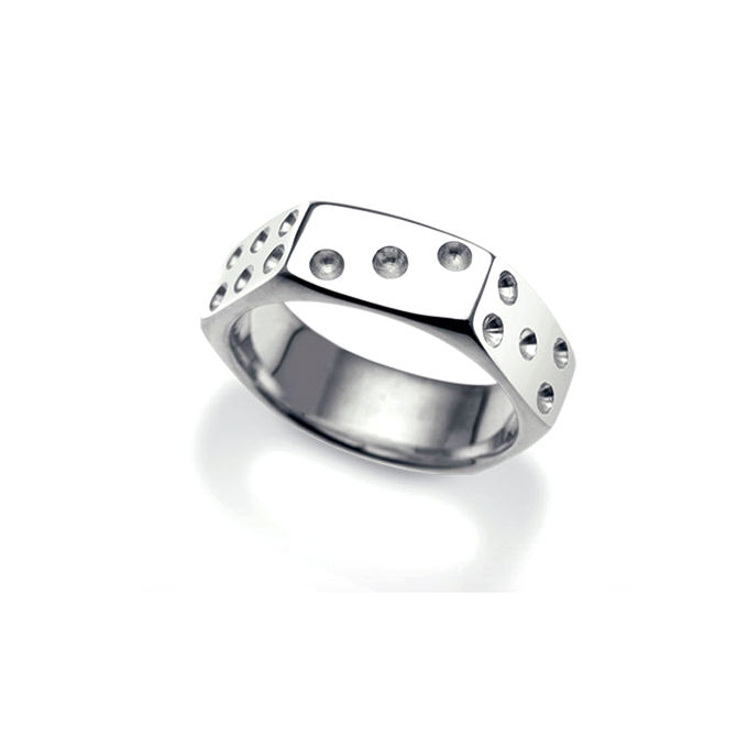 Unique casino jewelry men design hexagon cut dice ring wholesale