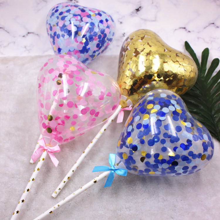 Heart-förmigen 5 zoll Decorated Cake Topper Confetti Balloon Latex Balloons mit Cup Stick und Bow