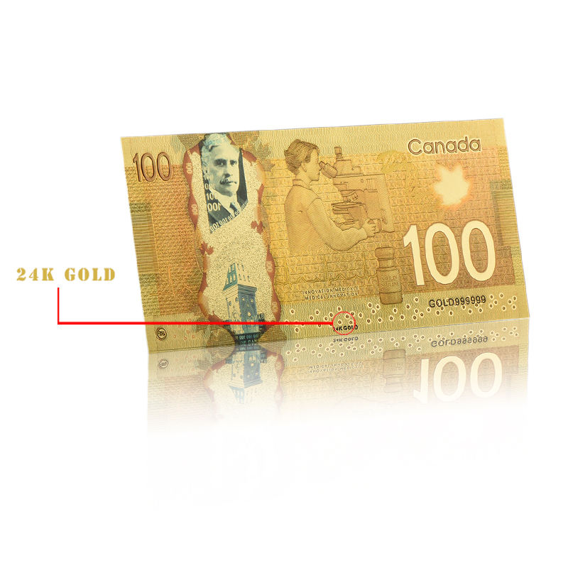 China Goods Wholesale One Hundred Colorful Gold Canadian Banknotes For Decorative