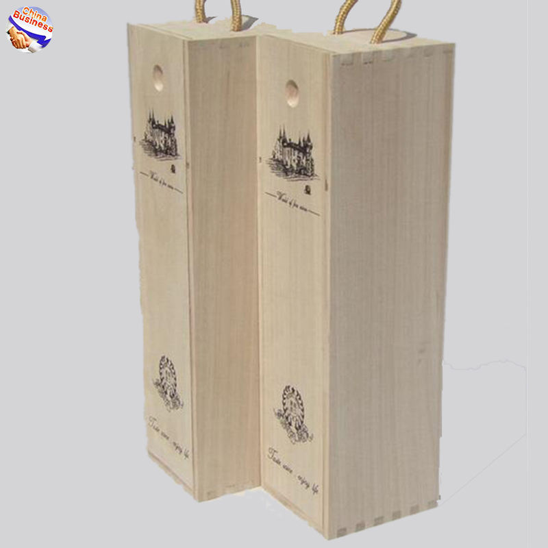 FH BIz Natural Pine Wood Unfinished wooden crafts wine gift box with Slide Lids