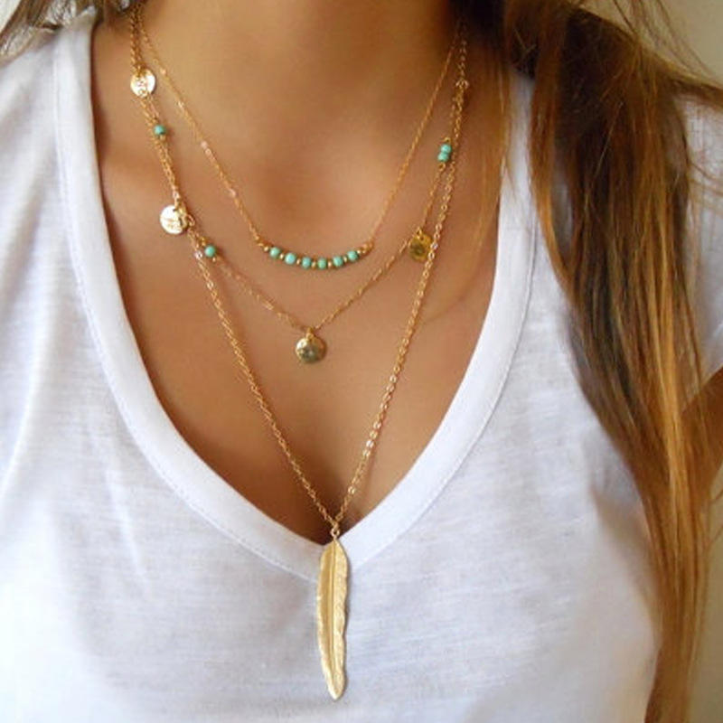 European Minimalist Gold Leaf Pendant Necklace Multi Layer Sequin Turquoise Bead Necklace