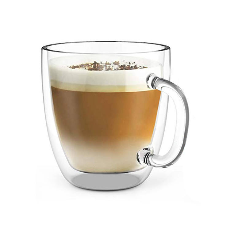 Wholesale 400ml high borosilicate heat resistant double wall glass cup coffee mug for home