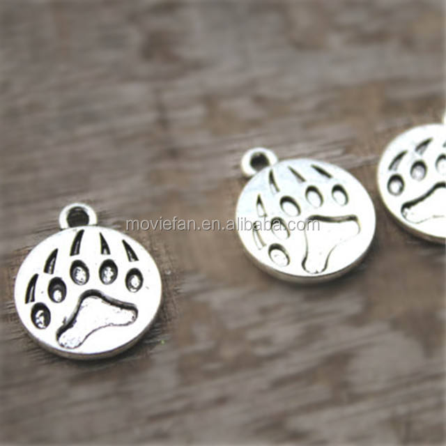 Bear Claw Charms Antique Tibetan silver Bear Paw charm pendants 18x15mm