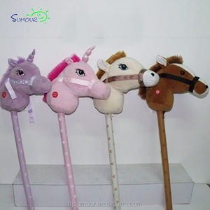 High-quality custom colored stuffed animal stick plush wooden horse toy with sound