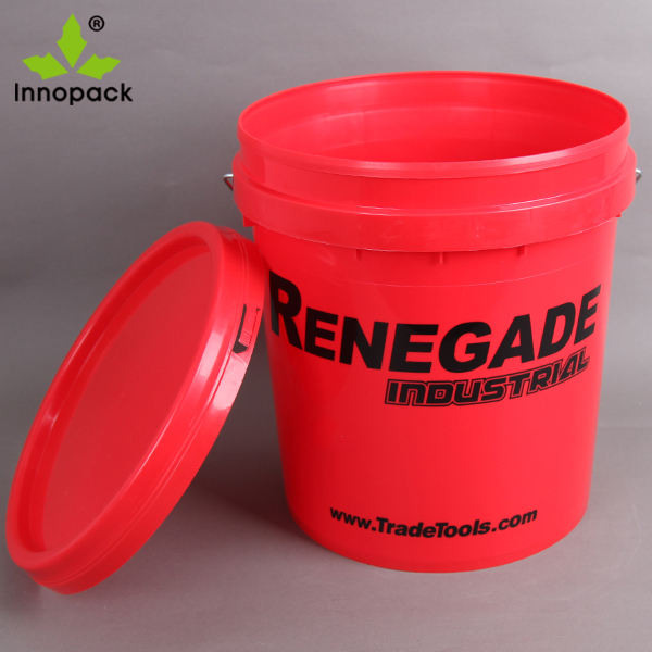 20L colored plastic conical bucket solvent bucket red pail printed plastic container with lid
