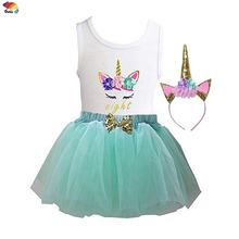 Colorful mesh dress birthday party costume carnival dance fancy unicorn baby princess dress for girls
