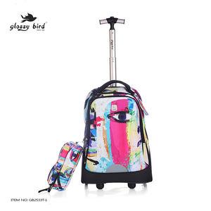 لامعة الطيور سستة الأزياء البوليستر الاطفال بعجلات عربة المدرسة حقيبة