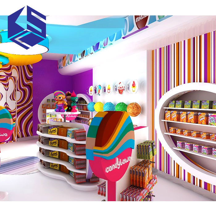 Lovely kid sweet store fixtures furniture design candy display stand shop counter design sweet shop