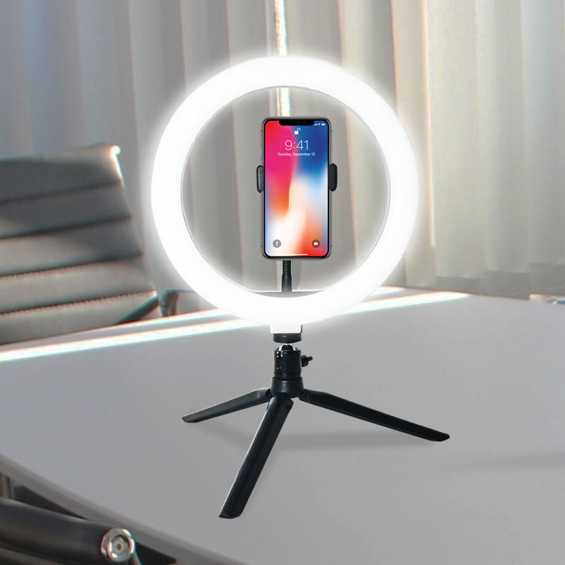 Table Top Dimmable 10 Inch LED Ring Light For Live Broadcast