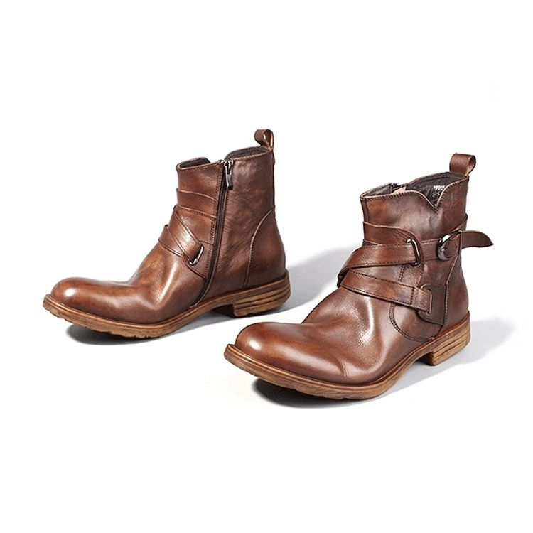 Leather boots men comfortable soft coffee and black vintage shoes genuine leather men boots