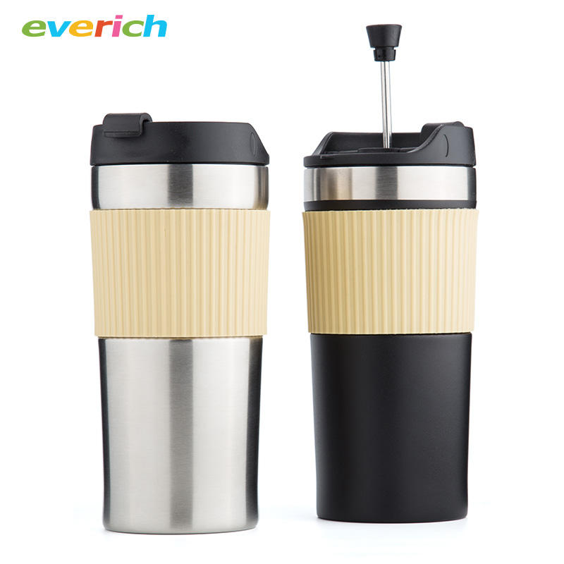 350ml Double Wall Stainless Steel Vacuum Coffee Travel Mug With Coffee Press