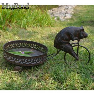 Metal pig on bicycle planter holder flower pot stand