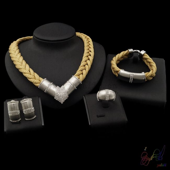 Yulaili Hot Sell indian Polki Bridal jewelry settings and mountings sterling silver gold jewelry half set