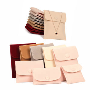 Envelope Flap Velvet Velour Suede Luxury Microfiber Jewelry Pouch With Snap Button