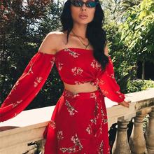 New Hot Summer 2 Two Piece Set Women Sexy Off Shoulder Ruffles Tops Skirts Set Floral Print Female Casual dress