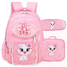 Portfolio School Bags For Girls Sweet Cute Cartoon Princess Cat Children Backpack Kids Lace Bookbag Primary School Backpack