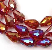 Czech Glass Firepolish Faceted Teardrop Beads