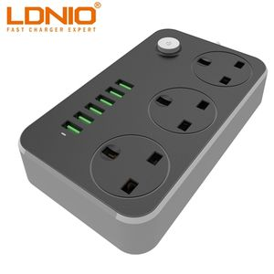 LDNIO UK Plug Power Socket Strip AC Power Extension Adapter with 6 USB Port