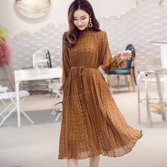 2019 New Women's neck black chiffon dress long sleeve plus size Elegant dress
