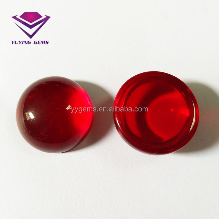 50% Thickness Half Ball Cut Flat Back Ruby Red Glass Cabochons Gems