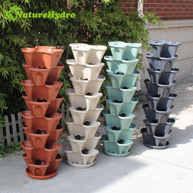 Plastic garden planters flower self watering plant pots vertical tower