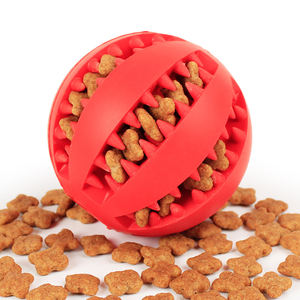 IQ treat ball interactive fool dispenser dog toy durable rubber bite resistant toy ball for pet puppy cat dog dental chew toy