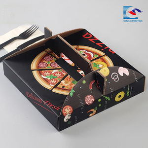 Portable custom printed pizza corrugated paper box with handle