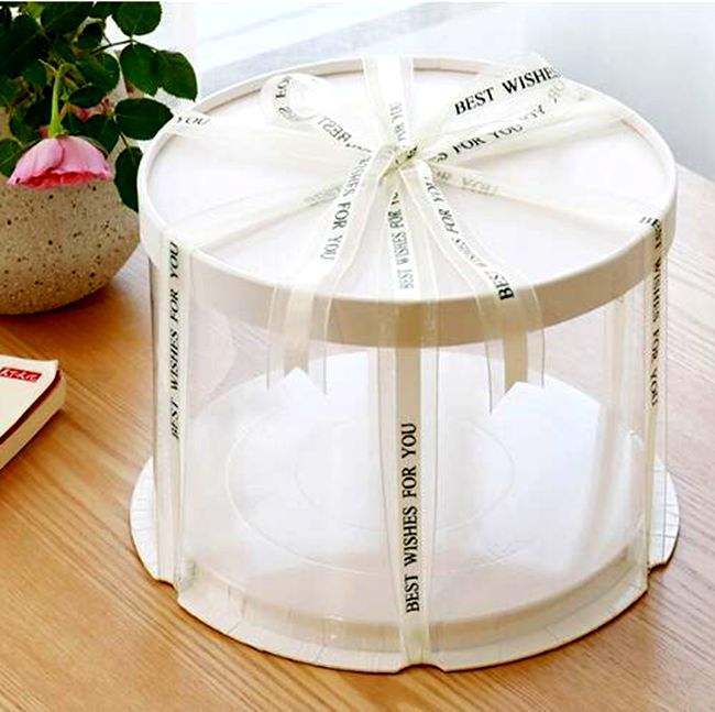 Buy Round Wedding Cake Boxes 6'' 8''10'' Pet Plastic Clear Gold Birthday Cake Box package