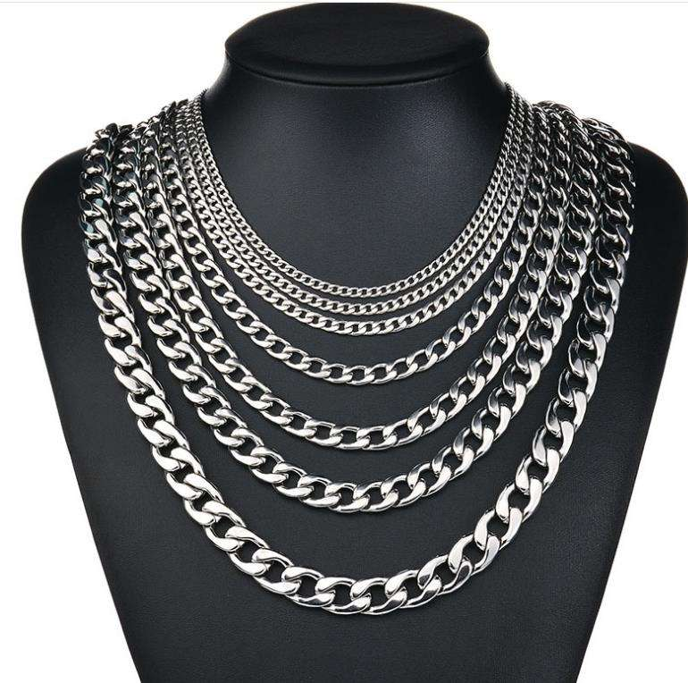 Width 3mm/4mm/5mm/6mm/7mm/8mm/9mm/10mm/11mm/13mm 316L Stainless Steel Mens NK Cool Curb Link Figaro Chain Necklace
