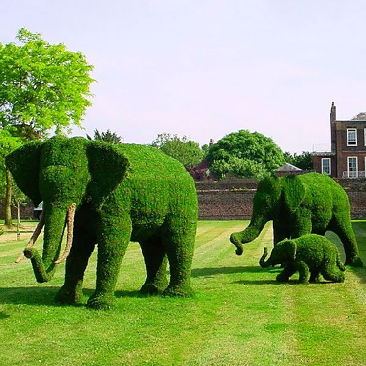 Green Grass Wire Topiary Frame Artificial Boxwood Elephant Animal