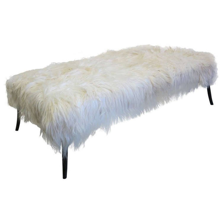 Wholesale 100% Genuine white color sheep rug 60*120cm long hair goat skin