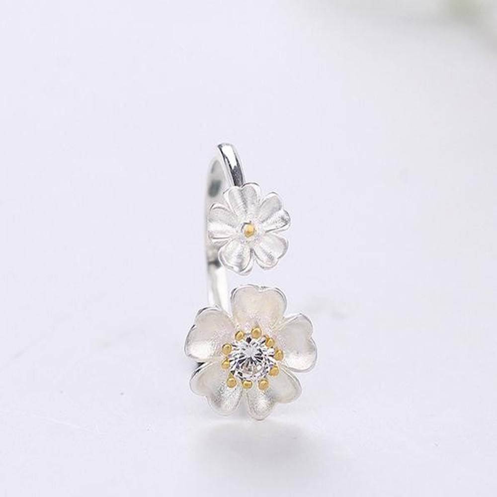 Fashion tiny delicate Flower adjustable 925 sterling silver ring