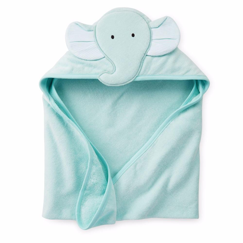 Cute Hot Sale Embroidery Plain Dyed 100% Cotton Baby Elephant Hooded Towel
