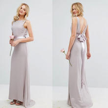 Custom Evening Dresses middle ribbon solid color pleated details back deep v neck with knot Long Bridesmaid Dress