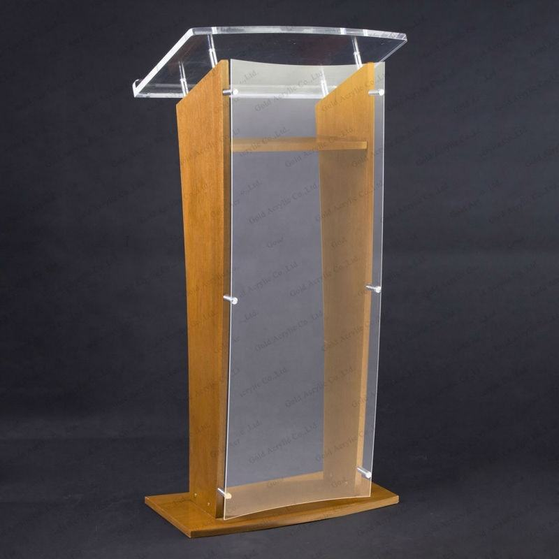 Modern Clear Acrylic Podium Held by Clear Box Shape Pillar