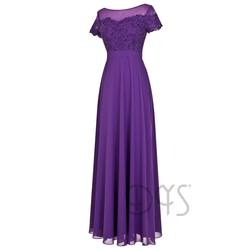 Graceful Clothing Long Purple Lace Chiffon Fat Mother of the Bride Dresses