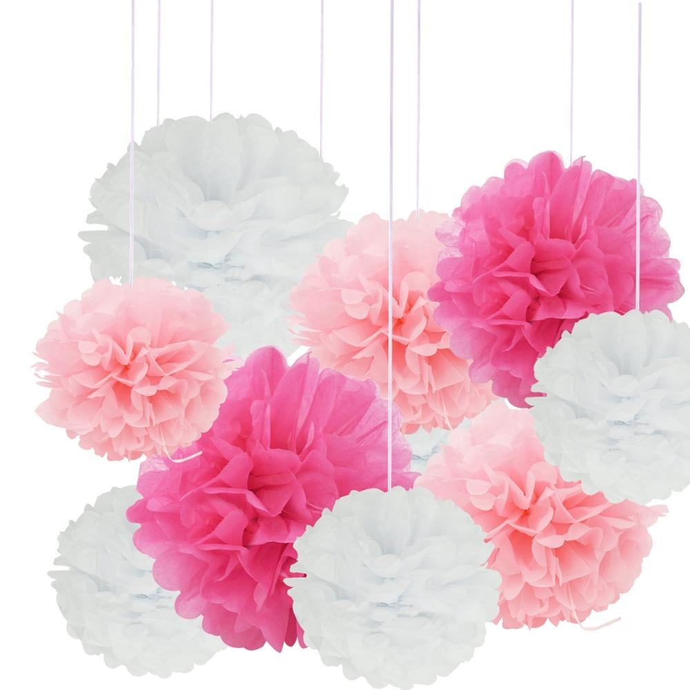 SR 12in 10in 8in Opknoping Papier Tissue Pompom 24 pcs Roze Wit Papier Poms Ball Wedding Party Outdoor Decoration Bloemen craft Kit