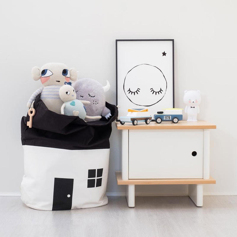 Nordic style canvas fabric toys storage bag kids drawstring storage bags