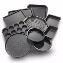 YJ Kitchenware Nonstick Bakeware Set Of Oven Crisper, Pizza Tray, Roasting, Loaf, Muffin, Square,2 Round Cake Baking Pans