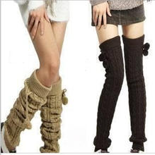 Winter Warm Long Socks Women Over Knee High Socks Cable Knit Thick Stockings Thigh High Boot Socks