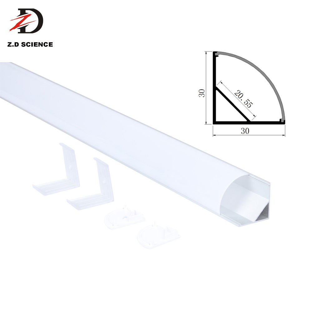 Triangle Corner Aluminum LED Extrusion Profile With PC Opal Cover 45 Degree Emitting Color LED Profile Light