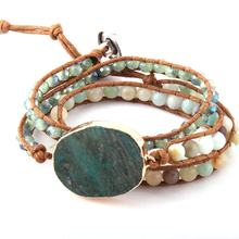 Fashion Women bracelet Handmade Natural Stone glass beads bracelet 3 row Men Leather Wrap Bracelet Dropship