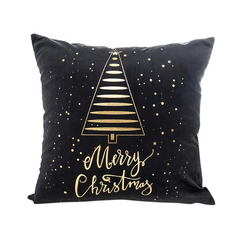 Christmas Decorative Throw Pillow Covers Gold Foil Print Metallic Shiny Decorative Cushion Covers