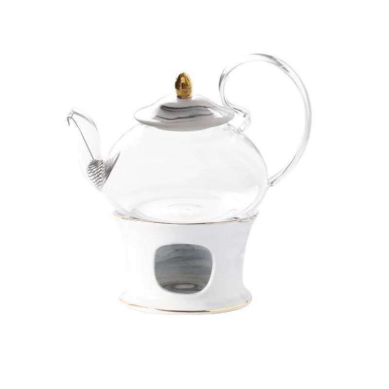 Unique tea time moroccan ceramic tea warmer crystal wedding glass teapot with infuser