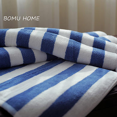 Luxury Quality 100% cotton Cabana White Blue Stripe Beach Towels