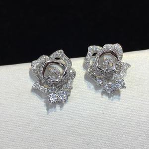 New Design Micro Pave Zircon Rose Flower Stud Earrings For Women/Girls CZ Party/Wedding Jewelry
