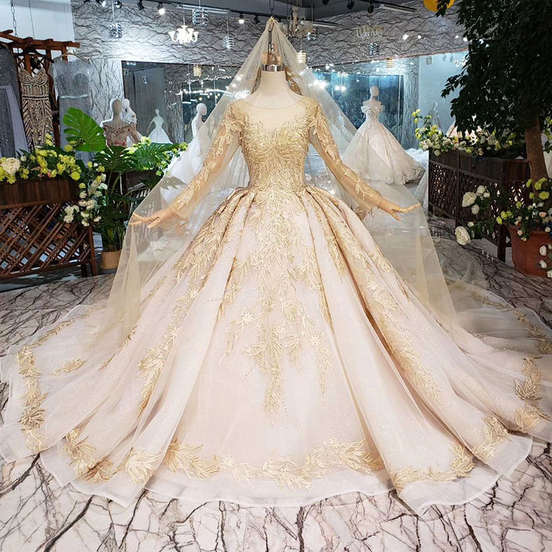 LS11555 Luxury Dresses with veil backless handmade champagne golden lace bridal dress evening gown with long train