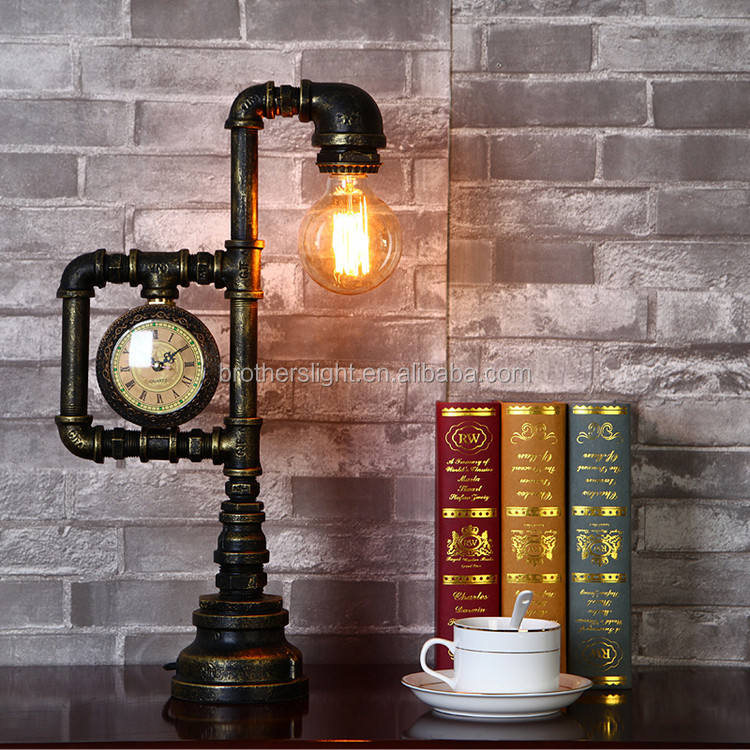 New design wholesale decorative industrial vinage/antique light water pipe table lamp