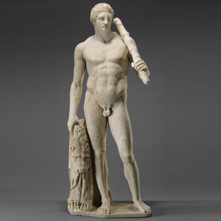 Ancient Greek myth white marble young Hercules nude man kill lion statue